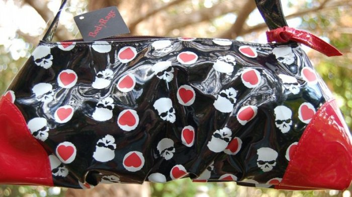 Body Rage Skull & Hearts purse Black White & Red Patent bag