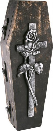 SALE 1/2 Price!! Rose Cross and Skull Coffin / Casket Decoration SET OF 2 !