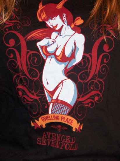 Avenged Sevenfold AX7 Dwelling Place Demon Ladies Tee Shirt medium