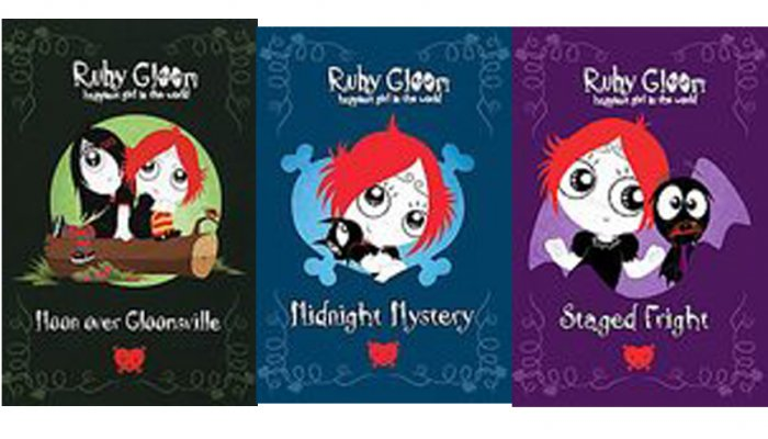 Ruby Gloom 3 Books Midnight Mystery - Moon Over Gloomsville - Stage Fright