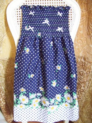 Custom Sundress 4T-5T Navy Blue with White Polka Dot & Daisy