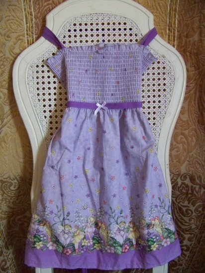 Custom Smocked Fairy Sundress Purple Pink bows ~ adjustable straps!