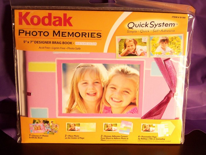 KODAK  Watercolor Pink 5 x 7 Photo Memories Quick System Brag or Scrap Book Kit