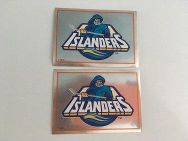 2 New York Islanders 1995/96 PANINI Team Logo Foil Hockey Sticker Cards # 98