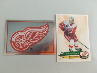 2 Nicklas Lidstrom Detroit Red Wings Team Logo 1995/96 PANINI Sticker Cards