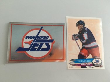 2 Teemu Selanne Winnipeg JETS Team Logo 1995/96 PANINI Hockey Sticker Cards