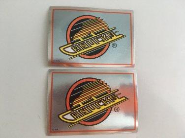 2 Vancouver CANUCKS 1995/96 Team Logo Foil PANINI Hockey Sticker Cards # 295