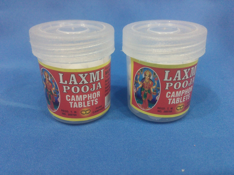 Set of 2 Pure 100% Laxmi pooja Camphor tablet in Small Clear Plastic Jar + Shipp
