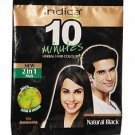 10 Packet Indica 10 Minutes Herbal Hair Color-Natural Black with Amla & Heena