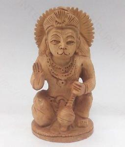 "Hanuman Rare Wooden Statue 3"" Religious Hindu God India Pleasantino Free Shipp11"