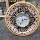 "5"" White Marble Table Watch Jaipur Hand Carfted Floral Art Home Decor Gifts"