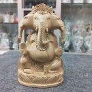 "6""Three mukhi Wooden GANESH Statue Hand Carved Hindu Elephant God Religious idol"