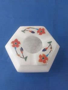 Octagon Marble floral inlay work Ashtray Cigar Cigarette Ash Man Gift Free Shipp