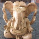 "6"" Wooden GANESH Statue Hand Carved Hindu Elephant God India Lord+Free Shipping$"