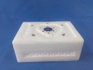 "4""x3x1.5""Italian Marble Jewelry Storage Box Inlay + Heart Jali Work Arts+ Shipp"