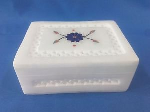 "4""x3x1.5""Italian Marble Jewelry Storage Box Inlay + Jali Work Arts and Crafts"