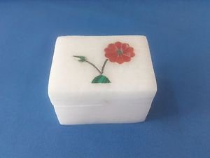 Delicate White Marble inlay work Square Shape jewelry box,trinket box +Free Ship
