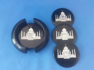 Taj Mahal inlay work on Black Marble Tea Coffee Coaster Set Awesome Gifts + Ship