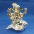 "Awesome Silver Plated Lord Ganpati 4""Hindu God Puja Idol Ganesh Home Decor+Shipp"