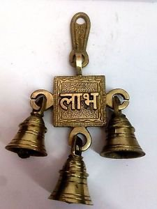 Vintage Brass Handmade Hanging Bells subh labh  Hindu  Door Home Decor Temple