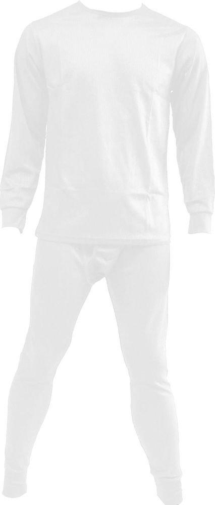 Men's 2 pc THERMAL UNDERWEAR Set, M, L, XL, XXL, 100% Cotton, White Color