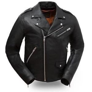 "First Classics Men's ""The Enforcer"" Black Leather Motorcycle Jacket FIM297CLMZ"