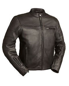 FMC Mens Black Leather Motorcycle Scooter Jacket �THE MANCHESTER� FIM255NOCZ