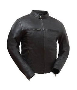 First Manufacture Mens Black Leather Jacket, Hipster FIM253SDC