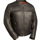 "FMC Mens Black Leather Scooter Motorcycle Jacket FIM230NOCZ ""THE HIGH ROLLER"""