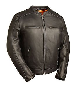 FMC Mens Black Leather Scooter Motorcycle Jacket FIM230NOCZ �THE HIGH ROLLER""