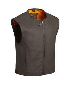 FMC The Cleveland Men's Black Leather Long Zip Vest,  FIM615CM