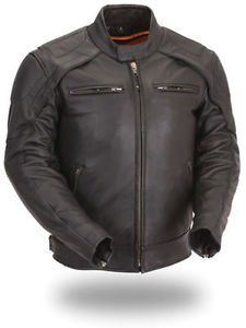 Mens Leather Motorcycle Jacket Soft Cowhide Vented Safety Feature FMC FIM235CFDZ