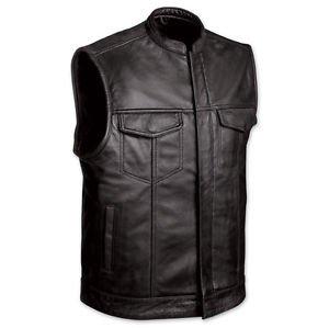 FMC Men's Leather Vest w/Zipper & Snap Front & Two Inside Gun Pockets, FMM690BSF