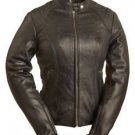 "FMC ""Girly Girl"" Black Ladies Leather Motorcycle Jacket FIL102CSLZ"