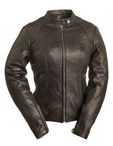 "FMC ""Girly Girl"" Black Ladies Leather Motorcycle Jacket FIL102CSLZ"