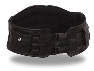 First MFG Men's Black Leather Back Support Belt with Storage Pockets FI2000GL