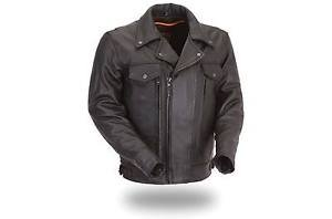 "FMC Mens ""Mastermind"" Leather Utility Cruising Motorcycle Jacket FIM244BNKDZ"