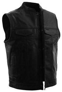 FMC Mens Leather Vest  With Zipper & Snap Front & 2 Gun Pockets #FIM689NOC