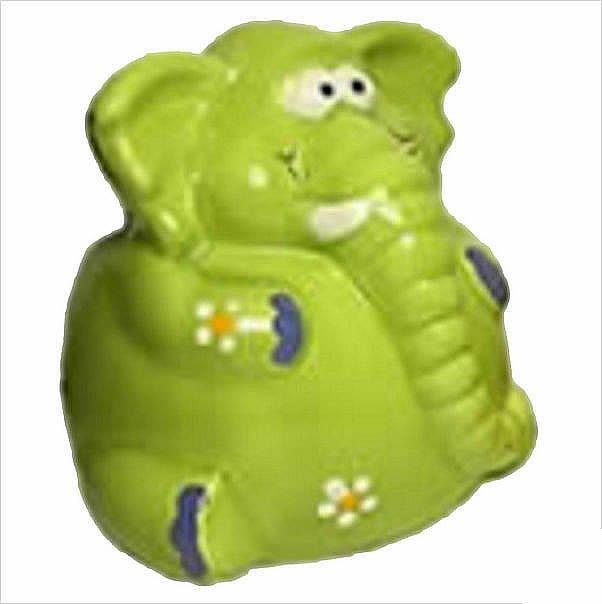 Large Green Happy Elephant Money Box
