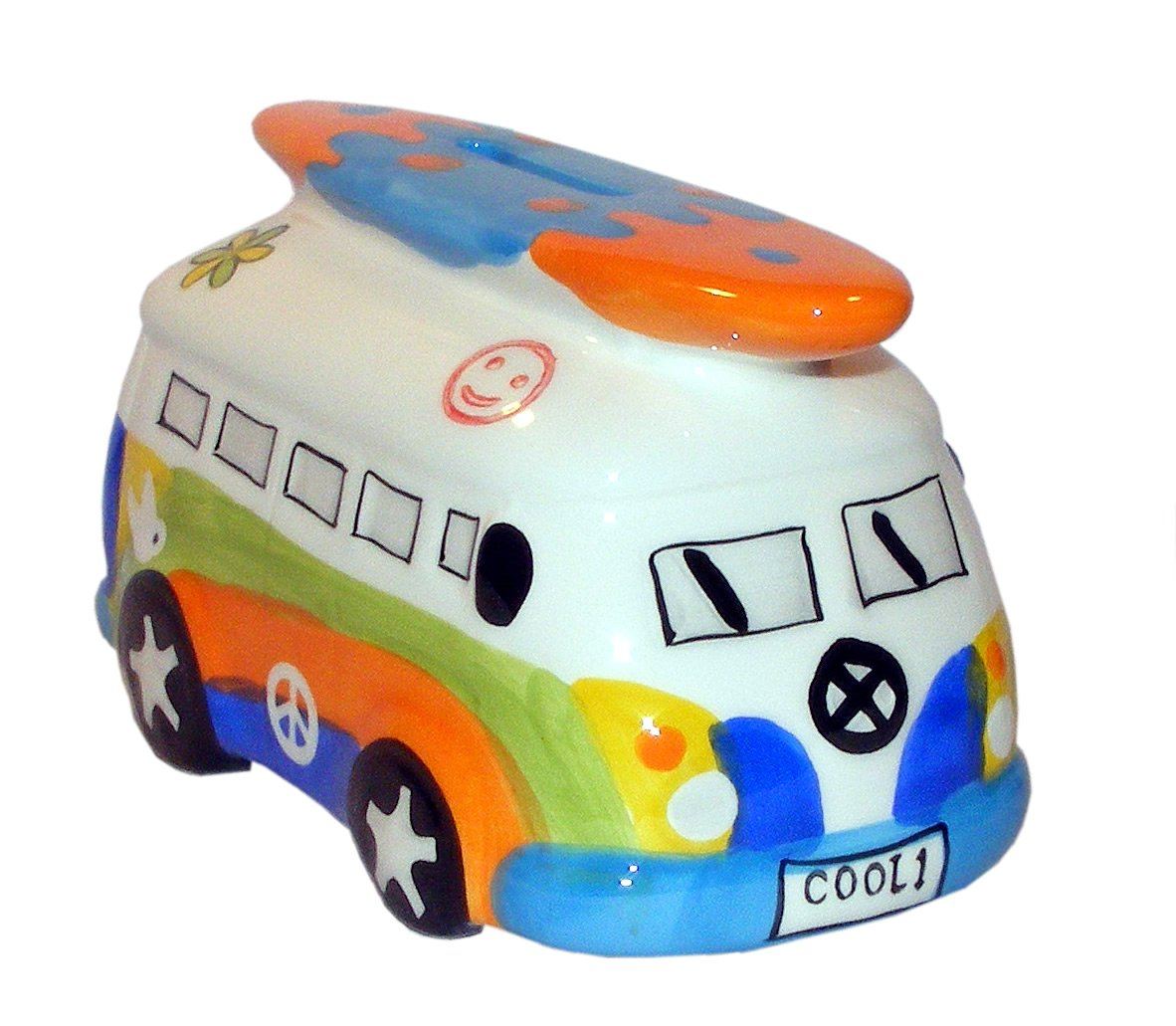 Rainbow Camper Van with Surfboard Money Box