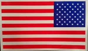 """American Flag Decal  3"""" � 5"""" Window Sticker Lot of 100 Decals Made in U.S.A. NEW"""