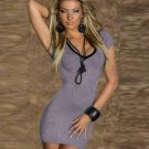 Deep V-Neck Lace up back Bandage regular sleeve Women Sexy Casual robe Dresses W203440C