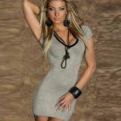 Deep V-Neck Lace up Bandage regular sleeve Women Sexy Casual Dresses W203440D