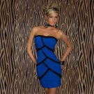 Zipper sexy casual  dress Sexy Women Short Strapless Striped Tight Night Club Party Dress W203453D