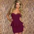Women Sexy Fashion Formal Strapless Rivet Mini Club Sexy Dresses Clubwear W203253A
