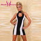 Striking Cut Out White striped Dress mini bandage dresses vestido de noche formatura W273033A