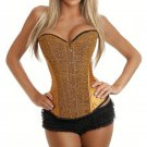 Ladies Fashion Golden Satin Lace Up Boned Sequined Bodyshaper Corset Bustier Top Overbust W580867E
