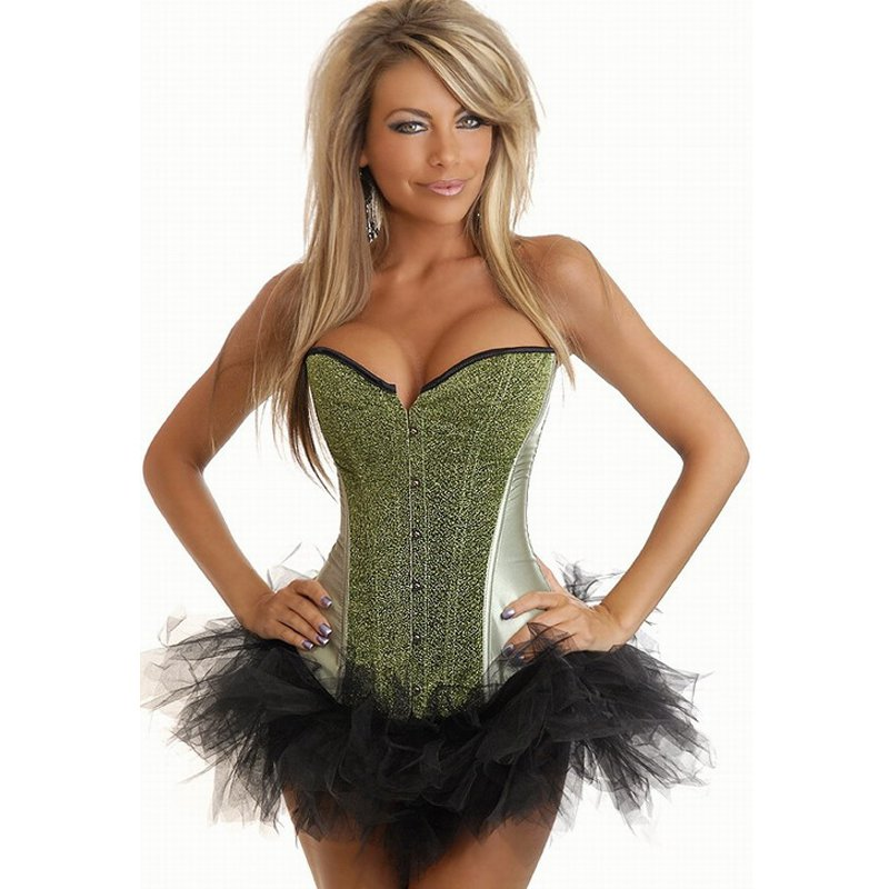 Ladies Fashion Green Satin Lace Up Boned Sequined Bodyshaper Corset Bustier Top Overbust W580867G