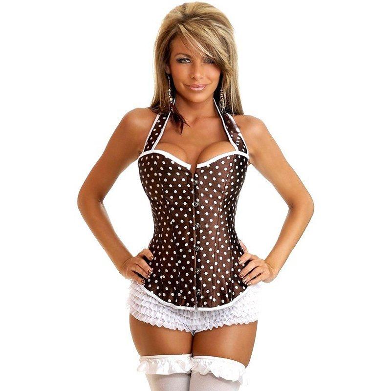 Brown Ladies Sexy Satin Halter Bustier Women Waist Trainer Dot Corset Steampunk Style W580872C