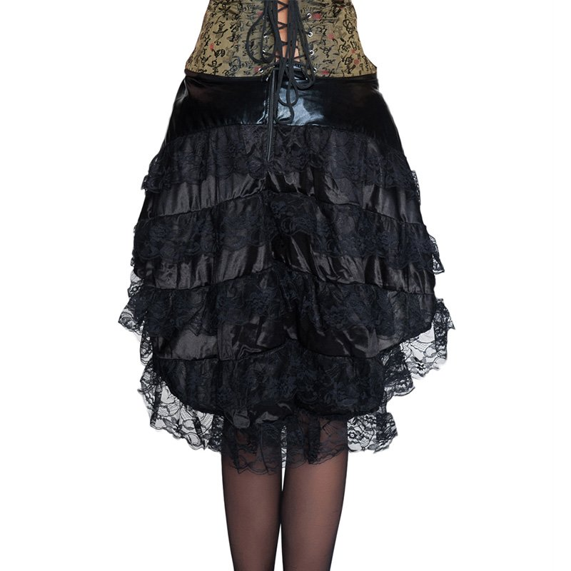 Women Skirts Hot Sale High Quality Steampunk Ladies Black Zipper Knee-Length Lace Ball Gown W46145